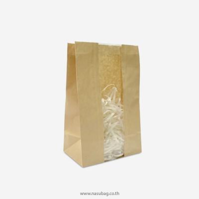 ถุงกระดาษน้ำตาลมีก้นถุงติดฟิล์มหน้าต่าง